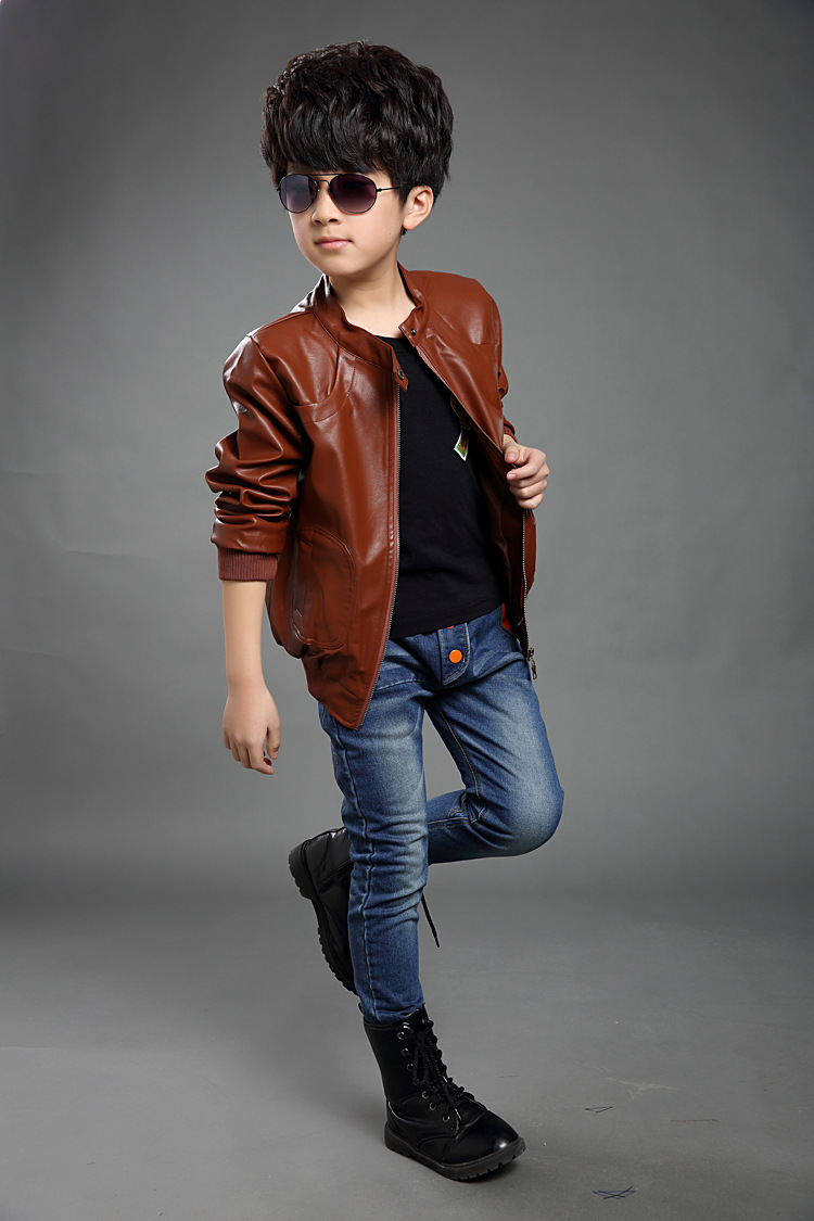 Leather jackets for kids - New 2017 Boys Casual Jacket Long Sleeve High Quality Leather